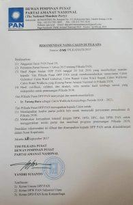 TB Terima Rekomendasi dari DPP PAN Sebagai Calon Wali Kota Kotamobagu