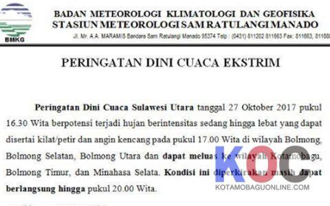 BMKG Sulut Keluarkan Peringatan Dini Cuaca Ekstrim Di BMR Hari Ini