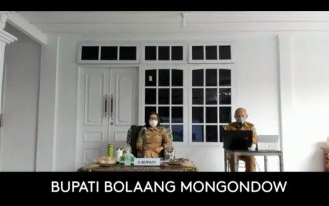 Bupati Dra Hj Yasti Soepredjo Mokoagow Memimpin Rapat Musrenbang Perubahan RPJMD Kabupaten Bolmong Tahun 2017-2022 Secara Online (Foto. screenshot zoom meeting)